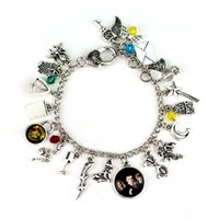 Wholesale collections link - New Harry Bracelet Ancient Silver Collection Bracelet Bangle Cuff Wristband with Golden Snitch Deathly Hallows Glass Charms Potter Jewelry