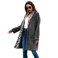 женские куртки леопардовый цвет оптовых-Женский стиль взрыва высокое качество 2018 осень и зима новый средний длинный сплошной цвет леопарда печати куртка