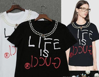 Wholesale English Caps - 2017 summer can not afford hair ball beaded diamond neck long sleeve jacquard English letters long sleeve thin section of the women's T-shir