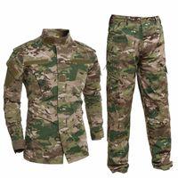 uniformes del ejército al por mayor-Uniforme militar Camisa + Pantalones Traje del ejército militar Trajes gruesos de camuflaje de algodón Camuflaje de pitón Uniformes de combate Campo CS