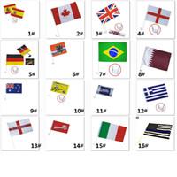 ingrosso bandiera finestra per auto-Bandiere banner Calcio Calcio 32 Country Car Flag Doppio lato in poliestere per auto Window Clip Advertising Flag 30 * 45cm HH7-967