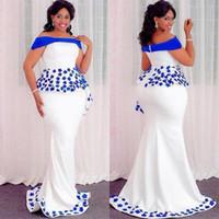 formale spitzenkleider für frauen großhandel-Plus Size Abendkleider mit Royal Blue Applikationen Schößchen weg von der Schulter Mermaid Abendkleid Reißverschluss Satin afrikanische Frauen formale Party Kleid