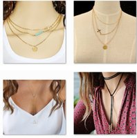 Wholesale Jade Crosses - 30 Styles Dogeared choker Necklaces With card Gold Circle Elephant Pearl Love Wings Cross Unicorn Pendant Necklace For Fashion women Jewelry
