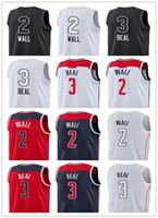 Wholesale college basketball shorts - 2018 New Jersey Men's 2 John Wall Jersey 3 Bradley Beal Shirts All Star Blue Red College Basketball Jerseys