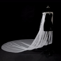 Wholesale tulle bridal capes - 2018 Off Shoulder 3M Cathedral Train Wedding Bridal Wraps Applique Lace Crystal Pearls With 3d Flowers Wedding Bridal Capes