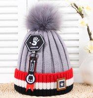 baby sport garn großhandel-Winter warme Baby Palm Hut Fashio Kinder Skifahren Bälle Hüte koreanischen Stil stricken Garn Sport Mütze junge Mädchen häkeln Kappen