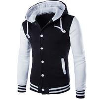 Wholesale veste baseball online - New Hooded Baseball Jacket Men Fashion Design Black Mens Slim Fit Varsity Jacket Brand Stylish College Jacekt Veste Homme