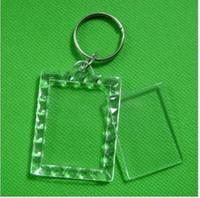 marco plástico de la foto llaveros personalizados al por mayor-Llaveros de acrílico en blanco del rectángulo 170pcs Inserte los llaveros de la foto (cadena del anillo dominante) 1.5