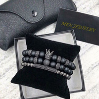 geschenk 2pcs großhandel-Norooni 2018 2 teile / satz Uxury Mode Crown Charm Armband Naturstein Für Frauen Und Herren Pulseras Masculina Geschenke Geschenk