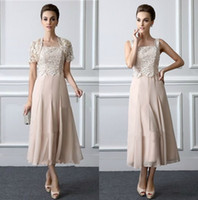 Wholesale two piece wedding dresses mother - Two Pieces Mother Dresses Tea Length Lace Mothers Formal Gowns With Jacket Square Neck Elegant Wedding Guest Dress
