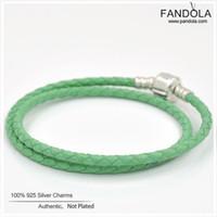 ingrosso braccialetti di cuoio fini per le donne-Braccialetto di cuoio 925 Sterling Silver Green Single Double Charm Bracciali per le donne Fine Jewelry Fare accessori all'ingrosso