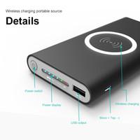 mobile ladegerät wireless power bank großhandel-10000 mah Energienbank Externe Batterie Schnellladung Drahtloses Ladegerät Powerbank Portable Handy Ladegerät für iPhone x 8 8 Plus