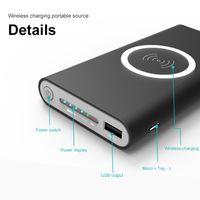 carregador móvel banco de energia sem fio venda por atacado-10000 mah power bank bateria externa de carga rápida carregador sem fio powerbank carregador de telefone celular portátil para iphone x 8 8 além de