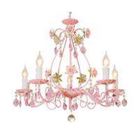 lustres roses achat en gros de-Rose lustre fleur de mariage, Rose décor cristal lustre éclairage, chambre à coucher salle de séjour fille chambre lampe suspendue enfants