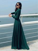 islamische lässige mode großhandel-HEIßE Neue Ankunft Frauen Casual Dress Kaftan Abaya Islamischen Muslimischen Frauen Langarm Vintage Lange Maxi Kleid Frauen Mode Kleid