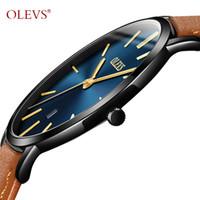 ingrosso sottili orologi maschili-Orologio da polso in pelle da uomo ultra sottile moda orologio da polso impermeabile orologio antigraffio orologio da uomo G5869P