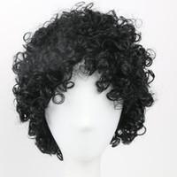 pelucas de cabello de hombres al por mayor-Cabello sintético corto Peluca negra Afro rizado Pelucas de pelo rizado para mujeres negras Hombres Pelucas afroamericanas Estilo natural Pelucas llenas