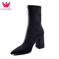 ingrosso aprire i calzini di moda della punta-2018 New Fashion Mid-Vitello Stretch tessuto calzino Stivali donne scarpe a punta tacco alto Stivali da donna Inverno
