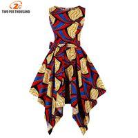 bazin kadın elbiseleri toptan satış-Kadınlar Için S-4XL Artı Boyutu Afrika Elbiseler Afrika Giyim Asimetrik Elbise Orta Doğu Dashiki Elbiseler Bazin Riche Geleneksel