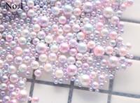покрытые шариками украшения оптовых-1000pcs/bag Cute 3/4/5/6MM Mixed Plated Color Mermaid Ball Pearl Nail Decoration Pearl Nail Art Decoration