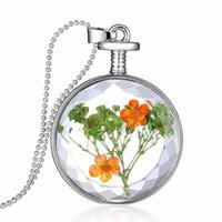 vraie chaîne de fleurs séchées achat en gros de-Collier de fleurs séchées, coréen fleurs séchées en verre transparent pendentif en cristal phase boîte réel spécimen de fleur chaîne de la clavicule bijoux femmes