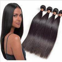 Wholesale malaysain hair weave resale online - 4 Bundles Malaysain Straight Hair Weaves Full Head Unprocessed Virgin Remy Human Hair Weaves Extensions Natural Black Color