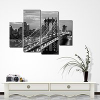 Wholesale modern art oil paintings online - Hot Sell Modern Wall Painting Brooklyn Bridge Home Decor Oil Paintings Scenery Art Picture Paint On Canvas Frameless qk4 jj