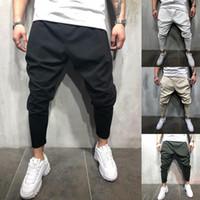 cool hip hop calças venda por atacado-Huation 2.018 homens Moda Joggers lápis Sweatpants Sportswear trilha da aptidão Pants Hip Hop Streetwear Calças frescos pantalon hombre