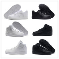 Wholesale skateboard sneaker shoes men - 2018 Classical Shoes MID 07 One Men Women Running Shoes 1 Black White Sport Sneakers Black Casual Skateboard Trainers Sneakers Size 36-46