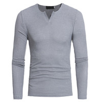 seksi erkek elbiseleri xxl toptan satış-Yeni Sonbahar Kore erkek T-shirt moda rahat ince V Boyun uzun kollu T-Shirt Seksi Stil erkek giyim S-XXL Ücretsiz Kargo