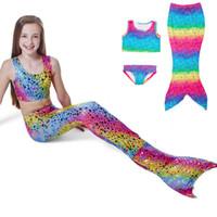 Wholesale cute blue girls bikinis - cute girls bikini swimming set mermaid skirt cosplay fishtail swim trunks tops skirt underwear 3 pieces set for 4-8years girls kids children