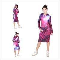 women sky sweatshirts NZ - Fashion Women Winter Hooded Pullover Sweatshirt Sky 3D Digatal Printed Bodycon Hoodie Jumper Dress