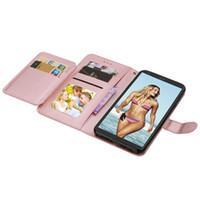 çok fonksiyonlu telefon cüzdanları toptan satış-Çok İşlevli Kartları Yuvası Cüzdan Kılıf LG Stylo 4 MOTO E5 Oynamak Gezisi XT1921 E5 Artı Supra XT1924 Fotoğraf Çerçevesi Telefon Kapak 7 adet