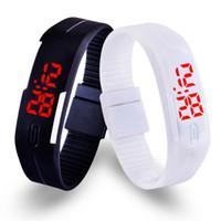 deporte señora hombres liderado al por mayor-Hot Digital LED Relojes Hombres Niños Deportes al aire libre Reloj Reloj Pulsera Ladies relogio Silicone 13 colores Reloj de pulsera