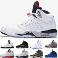 Wholesale good jams - 2018 good Quality 5 men sports Basketball Shoes metallic Silver space jam sport sneakers size 41-47