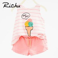 Wholesale cute short pants for girls - Richu pink cute baby girls clothing sets blouse and pants 2pcs clothing for girls 4 5 years children clothing boys sets summer