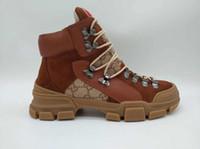 botas de invierno para hombres al por mayor-Venta caliente de cuero real de las mujeres zapatos de cuero de los hombres de las mujeres botas otoño invierno tobillo diseñador moda marca de lujo botas de los hombres