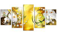 lona contemporânea da flor venda por atacado-Cópia Da Lona da flor Art Wall Decor Imagem 5 Painéis Orquídea Branca Pintura Floral Contemporânea Diamante HD Amarelo Artwork for Bedroom Emoldurado