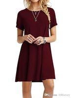 simple casual dress al por mayor-Catorce colores, camiseta clásica de Europa y América, casual casual, color sólido, manga corta, camiseta suelta, vestido salvaje para toda ocasión.