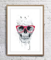Wholesale skull art pictures for sale - Group buy Skull With Red Glasses Art Poster Wall Decor Pictures Art Print Poster Unframe Inches