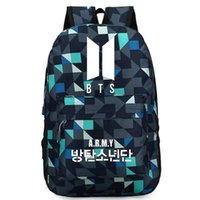 логотип новой двери оптовых-Kpop корейский BTS Bangtan мальчиков новый логотип двери армии письмо мужчины плечо рюкзак для женщин школьный вентилятор коллекция путешествия ноутбук