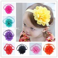 banda de encaje para niña al por mayor-12 colores Baby Girls Stretch Lace Headbands Infantil gran gasa flor del pelo lindo accesorios para el cabello 3.5 pulgadas C1707