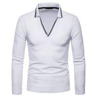 homens listrados v camisetas venda por atacado-Moda Listrado V Pescoço Camisa Polo Homens 2018 Outono Novo Slim Fit Manga Longa Polo Homme Sólida Casual Respirável Mens Camisas Polo