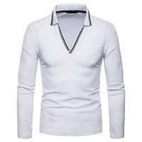 männer v hals polo mode großhandel-Mode Striped V-Ausschnitt Polo-Shirt Männer 2018 Herbst neue Slim Fit Langarm Polo Homme Solide lässig Breathable Herren Polo-Shirts