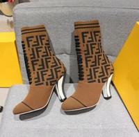 botas calcanhar carretel venda por atacado-Mulheres Elastic lã meia de veludo botas curtas Clássico magro de salto alto marca de Moda de luxo Simples Bonito sexy cavaleiro botas Plus Size