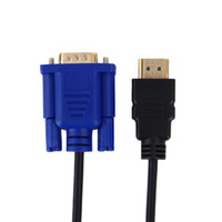 cable vga hdmi 6 pies al por mayor-Versión Premium 6ft 1.8M Gold HDTV HDMI a VGA Cable de cable de cable de adaptador de video HD15 para HDTV PC Portátil HDMI Adaptador Kabel Cabo