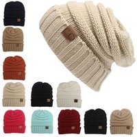 Wholesale Beautiful Decoration - Unisex CC Trendy Hats Winter Knitted Beautiful With Liner Luxury Cable Slouchy Skull Hat Caps Fashion Leisure Beanie Outdoor Hats