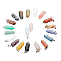 Wholesale agate gemstone necklace - Free shipping Natural Gemstone Hexagon Prism Bullet Pendant Charms Healing Quartz Agate Fashion Jewelry Necklace Pendants Wholesale