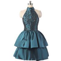 nane yeşil kolsuz kısa elbise toptan satış-2018 Yüksek Boyun Dantel Boncuk Ile Kısa Mezuniyet Elbiseleri Katmanlı Saten Mezuniyet Elbiseleri Mini Balo Abiye Real Resimleri SH017
