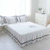 двуспальные кровати оптовых-1/3pcs Ruffles bedding Bed sheet Pillowcase Coon White Princess Lace Bedspread Bed Skirt Home Textile Twin/Queen/King Size